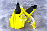Snorkel Mask and Fins Isolated