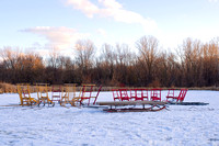 Kicksleds on Farm Pond